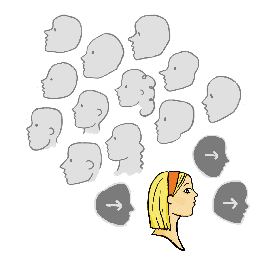 An example graphic where a small group wants to face left but are the only ones represented