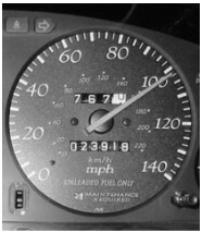 Speedometer in the car dashboard