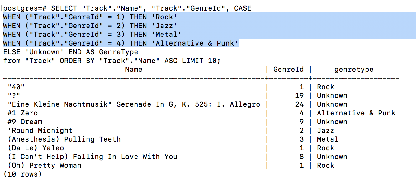 Adding multiple additional WHEN subclauses to the query in order to fill in multiple genres (not just rock and not rock)