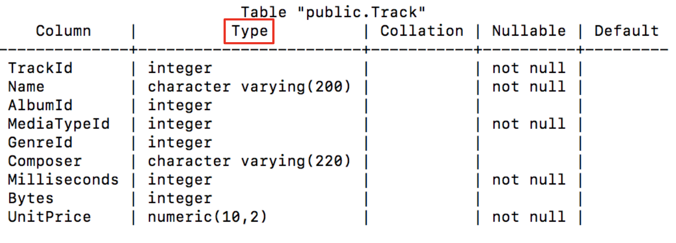 "details on the column types using \d ""Track"""