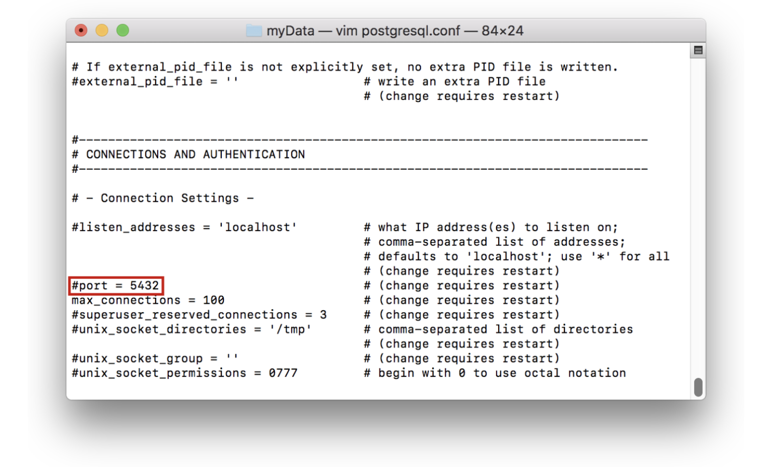 shows how to edit the port in the command line interface by editing the .conf file