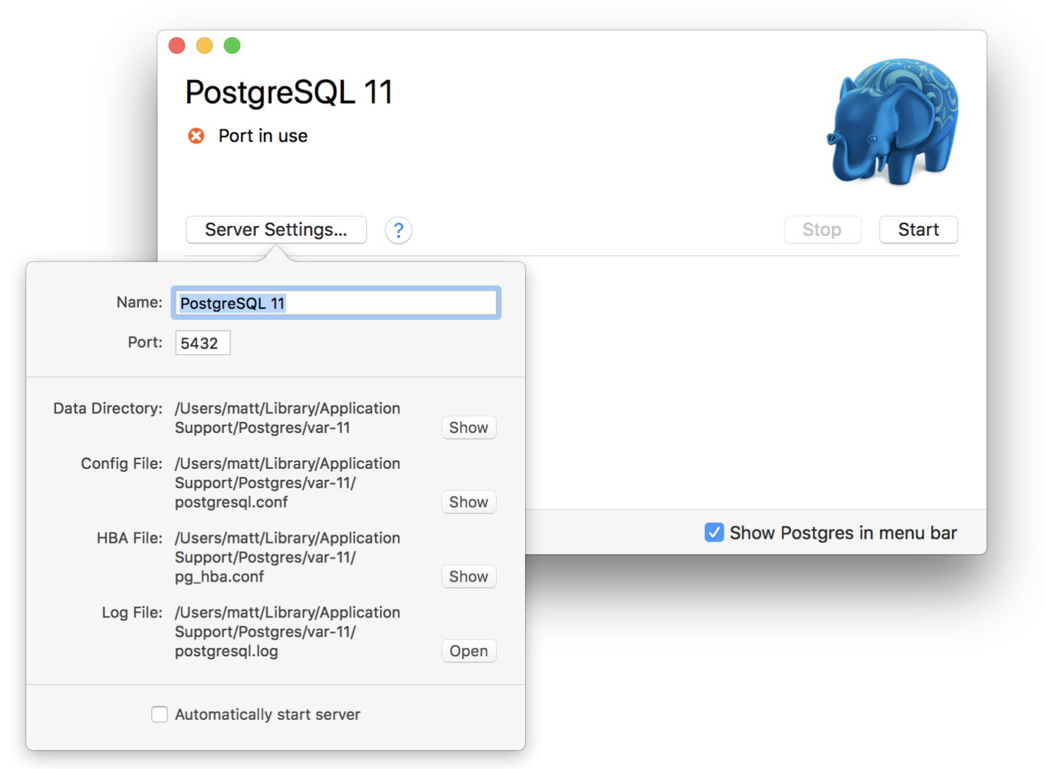 Shows how to edit settings in the postgres app