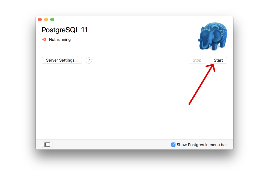 image of the postgres app gui highlighting the start button