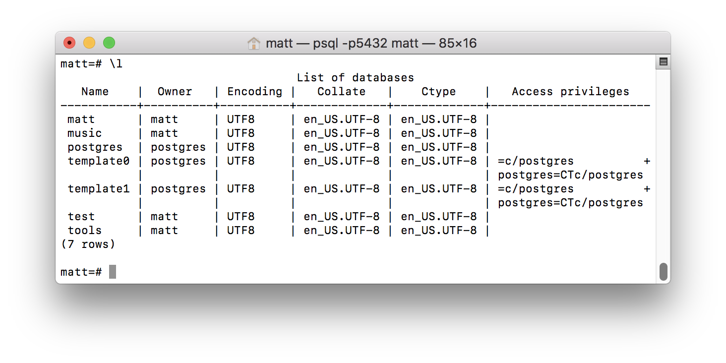 list of databases from psql