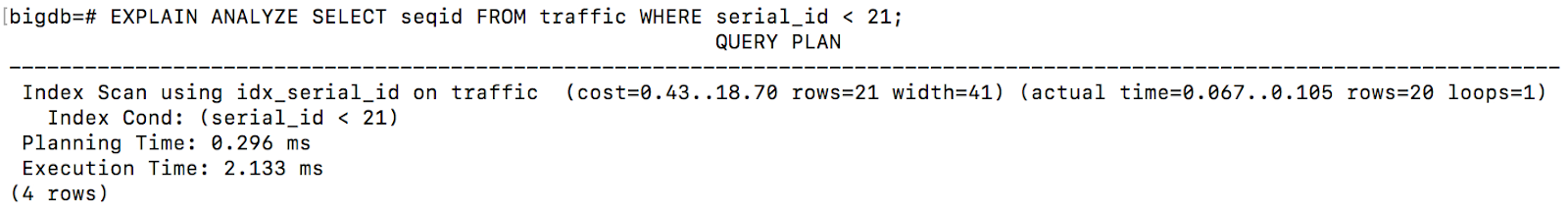 Image showing an example query plan using explain analyze